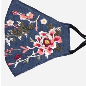 NEW! Johnny Was Embroidered Medium Denim Face Mask